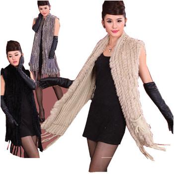 ZDFURS * Hot sale fashion fur shawl knitted rabbit fur shawl with pocket rabbit fur sweater vest poncho wholesale