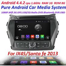 Car GPS navigation Pure Android 4.4 For  hyundai IX45  SANTA FE 2013 with WIFI 3G Capacitive screen car radio car stereo 1.6GHZ