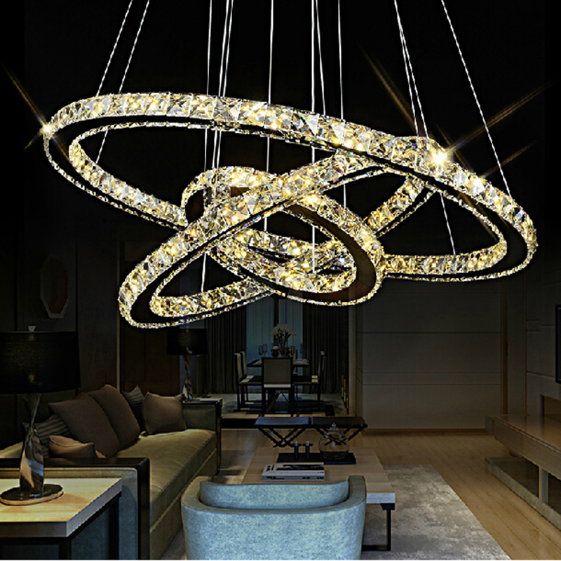 modern crystal pendant light 2 3 rings for living dining room kitchen Circles Suspension pendant lights fixture lamp lighting(China (Mainland))