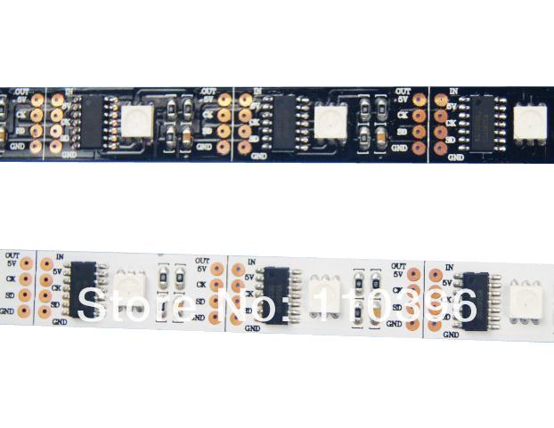 5v addressable 5m 32 pcs smd 5050 rgb digital ws2801 led strip;programmable ws2801 ic 32 pixel/m black/white pcb(China (Mainland))