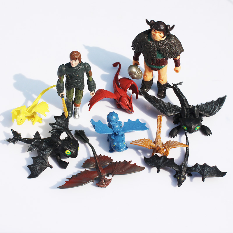 5Sets/lot How To Train Your Dragon 2 Figure Toys Hiccup Snotlout Toothless Night Fury PVC Figures Toy 10pcs/set Great Gift(China (Mainland))