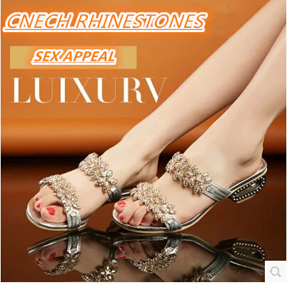 Fashion crystal rhinestone sandals sexy square  heel  slippers elegant sexy slides casual/dating flip-flops women shoes<br><br>Aliexpress