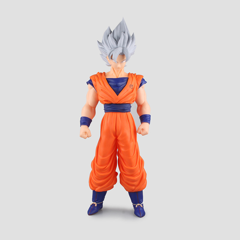 42cm Dragon Ball Z Super Saiyan Son Gokou Sliver Hair Super Big PVC Action Figure Collection Toy