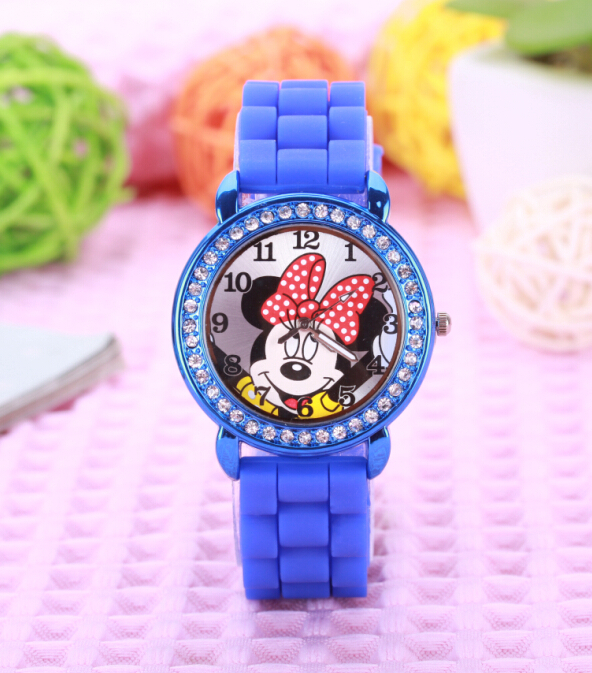 Free Shipping 5pcs,New 7Colors,Hot Sales Brand minnie mouse watch  Dial Silicone Diamond Crystal Lady Jelly Watch<br><br>Aliexpress