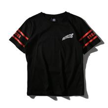 New Black Simple Men/Women Summer T shirt Red Strip Letter Freak AEROS Animal Flying Cotton Short Sleeve Casual Harajuku T-shirt