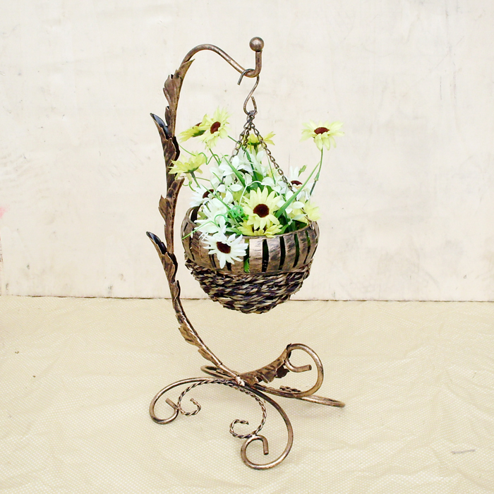 Metal Flower Hanging Baskets : Vintage wrought iron hanging basket decorative metal