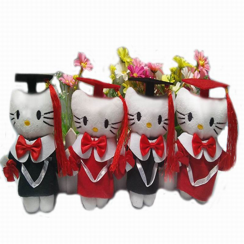"14CM(5.5"") Plush Sitting Graduation Hello Kitty doll Stuffed Toys KT -Diploma Graduation Gift For Students(China (Mainland))"