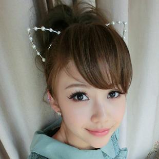 Fashion Lady Cat Ears Super Cute Rhinestone Tiara Headband 4 Styles Girl Tiara Crown With Pearl Crystals 10pcs/Lot Fast Shipping(China (Mainland))