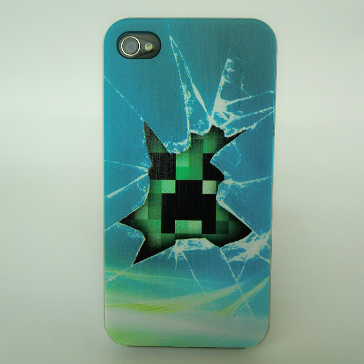 wholesale new fashion luxury cartoon minecraft  creeper Ttxture designer hard cell phone cases for iPhone 4 4s 5 free shipping