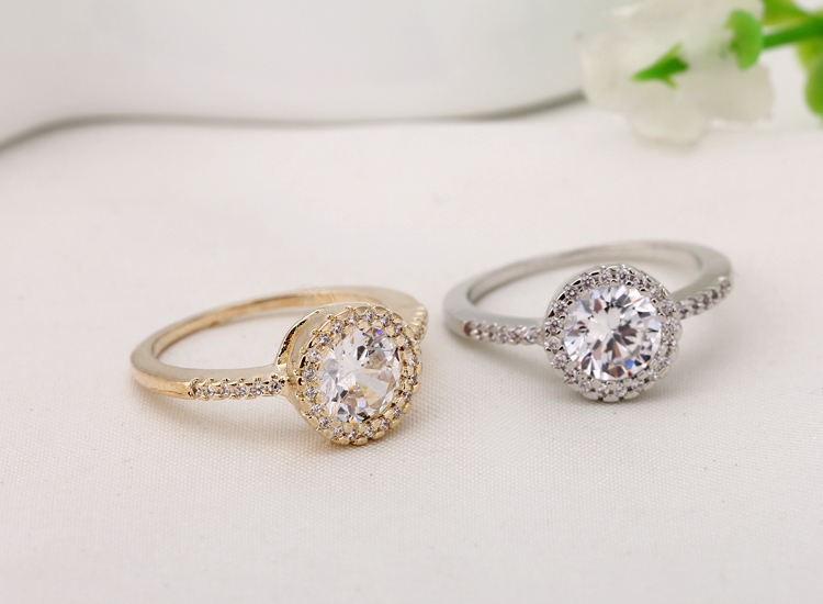 high quality fashion jewelry gold white gold plated round cubic zirconia engagement wedding rings wholesale - High Quality Cubic Zirconia Wedding Rings