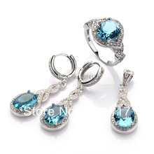 Fashion Dark Blue Cubic Zirconia Favourite Silver Plated jewelry Casual heart  set (ring/earring/pendant) 3161 set sz6 7 8 9(China (Mainland))