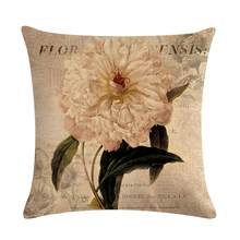 45*45cm Printed Cotton Linen Cushion Cover Flower With Words Home Decor Pillowcase Octopus Sofa Bedding Cushion Case(China)