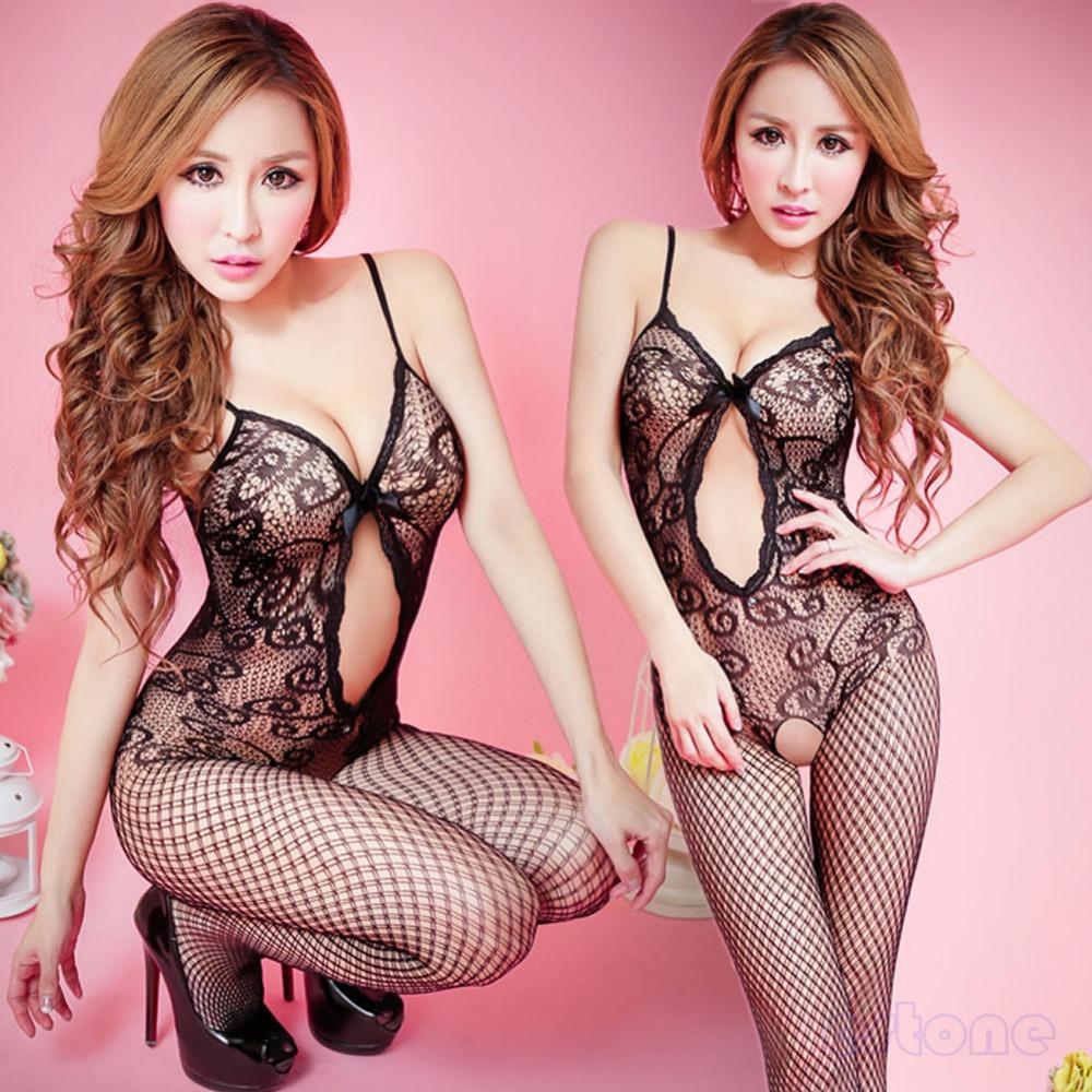 F98 2015 New Arrive Sexy Women Black Crotchless Fish Net Body Stocking Bodysuit Lingerie Nightwear Free shipping(China (Mainland))