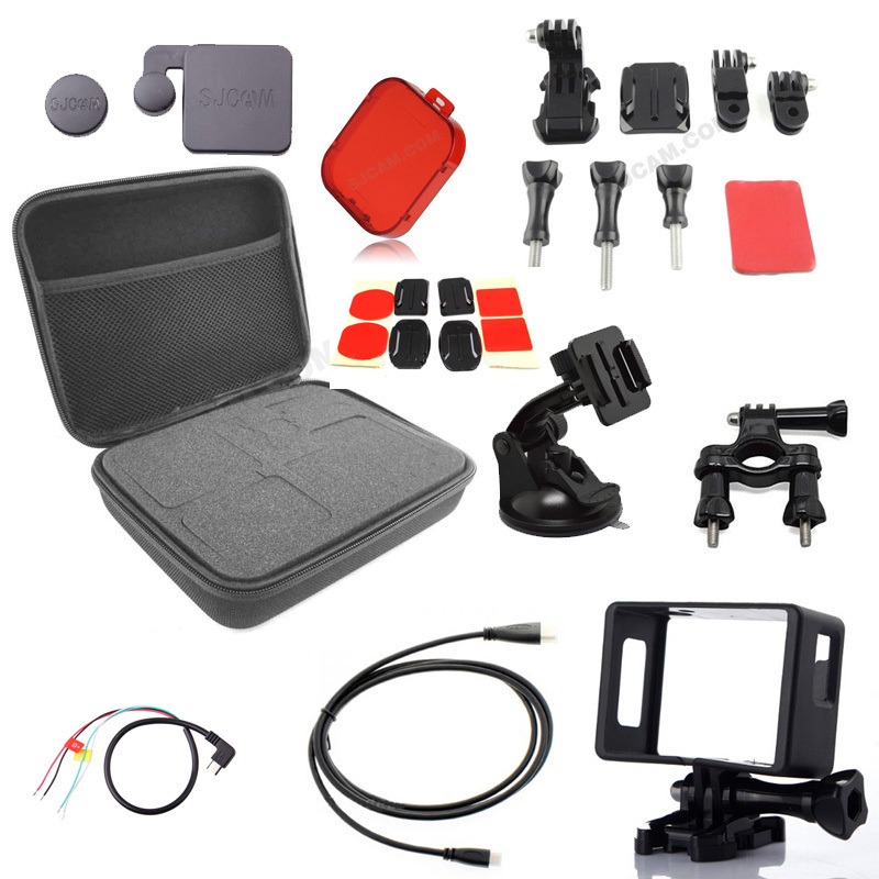 SJCAM SJ4000 SJ 4000 Accessoris kit set  Filter +AV Cable +HDMI Cable +SJ4000 bag+Lens Cap+ Border Frame for SJCAM SJ4000 Cam <br><br>Aliexpress