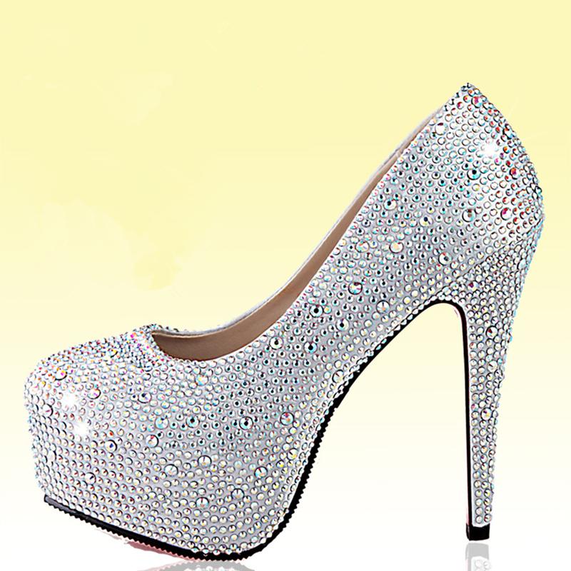 New 2015 Fashion Platform Rhinestone Women Pumps Wedding Shoes High Heels Red Bottom Crystal Party Pump Bridal Shoes White(China (Mainland))