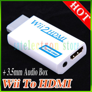 NEW White Wii to HDMI Wii2HDMI Adapter Converter Full HD 1080P Output Upscaling + 3.5mm Audio Box, FREE SHIPPING!!