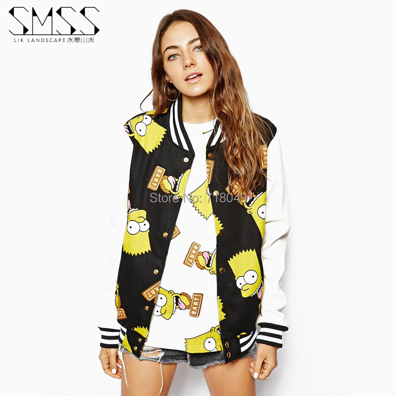 Sport Suit Women Sweatshirt 2014 Fall New Simpson Printed Long Sleeve Patchwork Baseball Coat Plus Size Tracksuits - JANE&BOB Fashion Store store