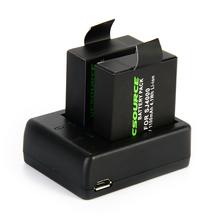 Micro usb cargador + 2×1100 mah batería para sj4000 sjcam sj5000 cámara actiong bc495