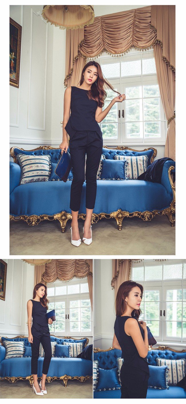 women pant suit Sleevless Shirt and Cropped Pants (6)