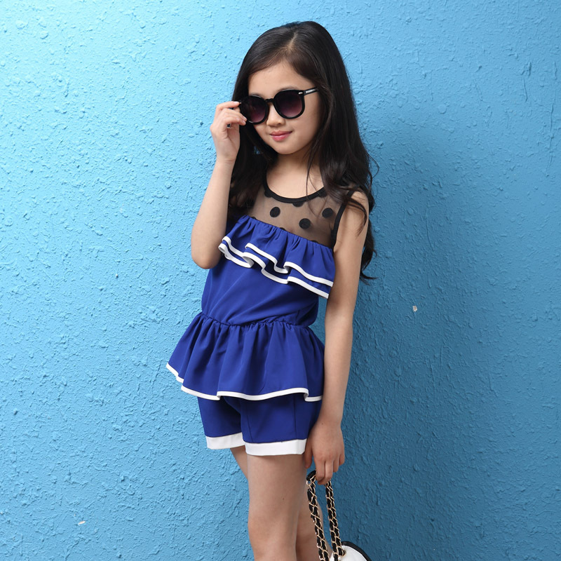 2015 Girls Summer Clothes Korea New Style Fashion Lace Blue Sweat Dress Suits Baby High