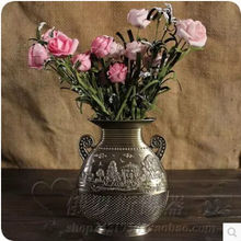 Continental, flat-sided tin embossed manufacturing retro vase home decor vase  HP004(China (Mainland))