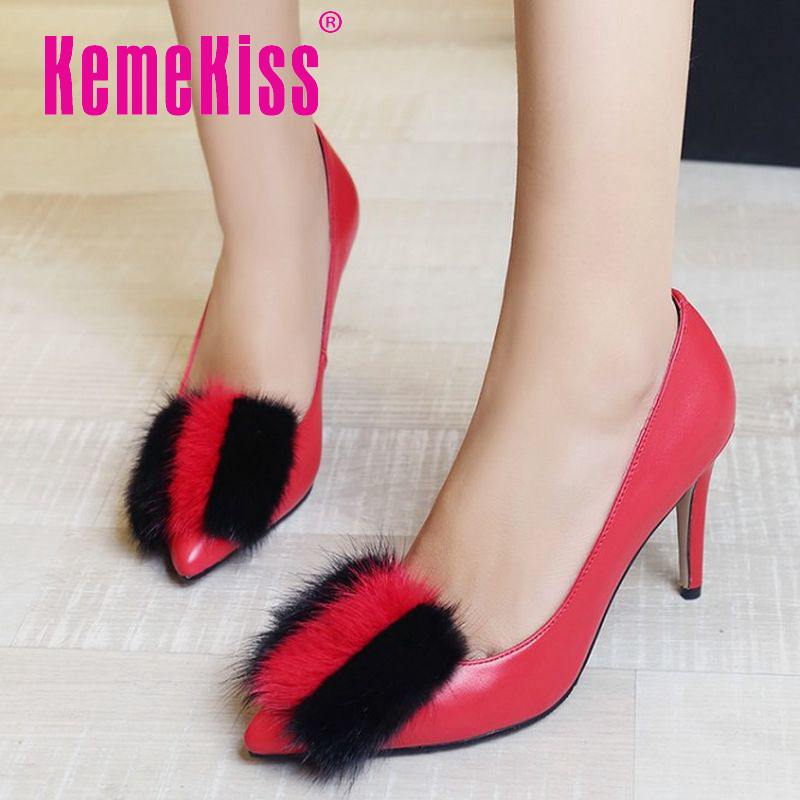 ladies pointed toe real genuine leather bowknot high heel shoes women sexy pumps fashion footwear brand  shoes size 33-41 R08563<br><br>Aliexpress