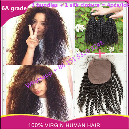 brazillian silk closure with bleached knots kinky curly with silk base closure brazillian hair bundles with silk closure no shed