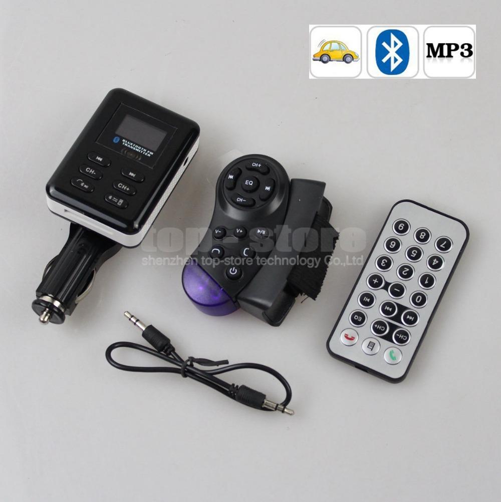 Wholesale Bluetooth LCD Car Kit MP3 Player FM Transmitter Modulator Remote Control Support USB / SD / MMC Free Shipping(China (Mainland))