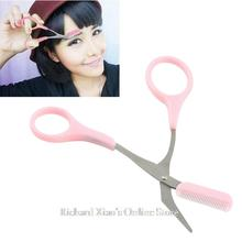 1pc Pink Eyebrow Trimmer Eyelash Thinning Shears Comb Shaping Eyebrow Grooming Cosmetic Tool, Eyelash Hair Clips Scissors(China (Mainland))