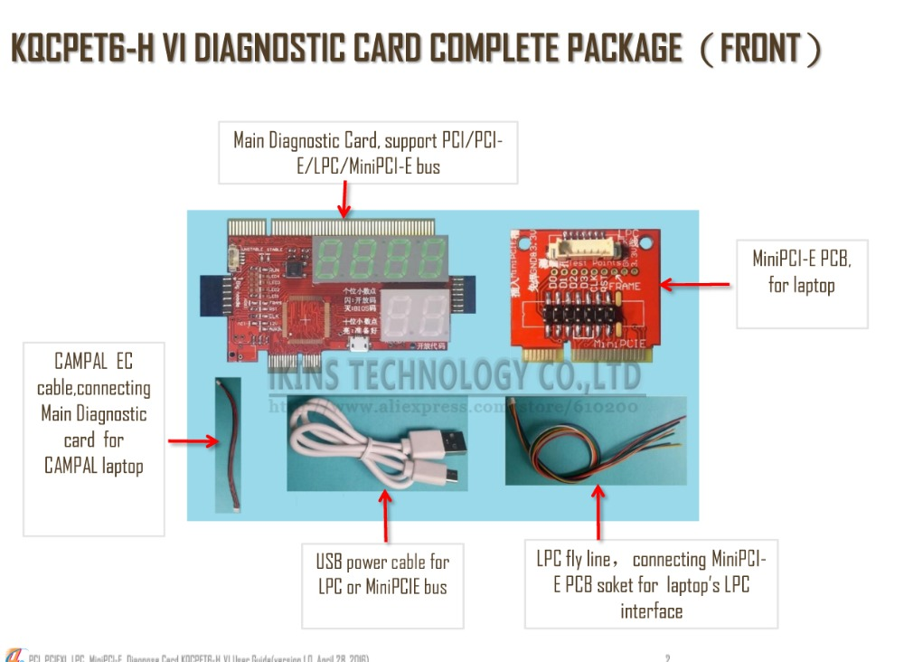 2016 KQCPET6-H V4 2 in1 Laptop And Desktop PC Universal Diagnostic Test Debug King Post Card Support for PCI PCI-E miniPCI-E LPC(China (Mainland))