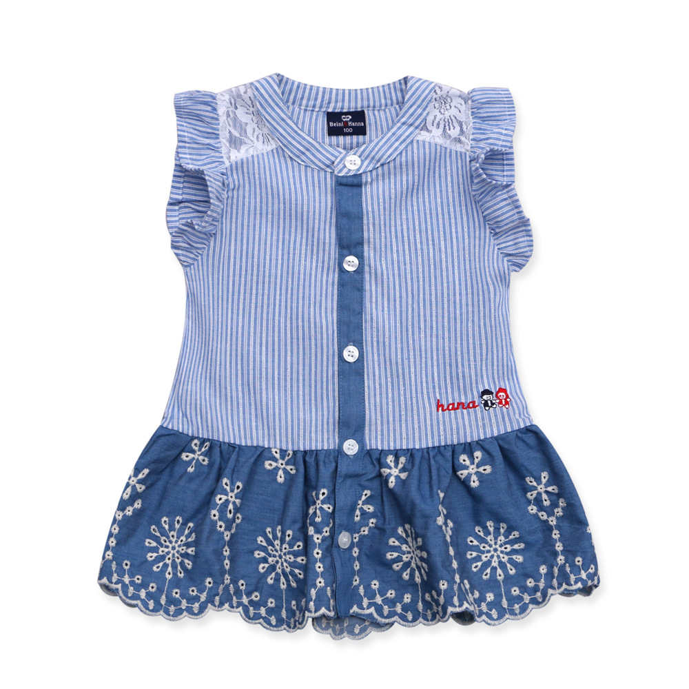 Hot 2-5 Years Old Children's Embroidered Embroidery Flower Princess Dress Girls Dress Summer Pink Blue Good Quality Wholesale(China (Mainland))