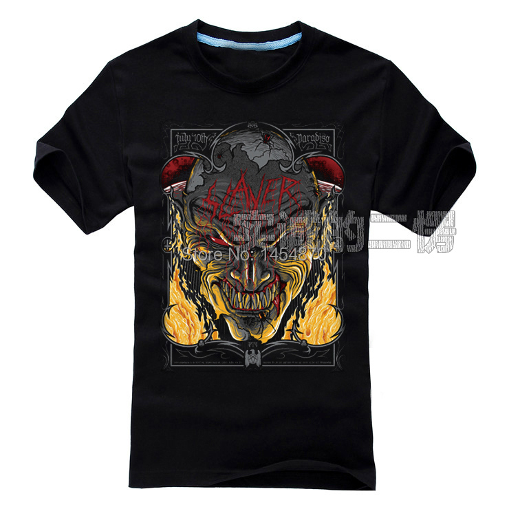 Cool High Quality SLAYER Band Rock Brand Skull Fire Devil shirt 3D items fitness Punk Hardrock heavy Metal 100%Cotton(China (Mainland))
