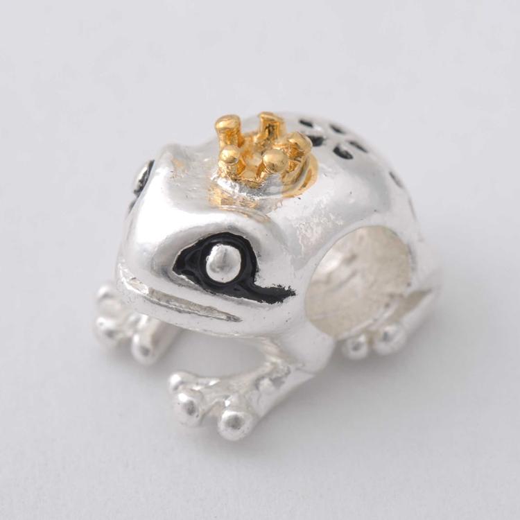 Free Shipping 925 Silver Bead Charm Gold Crown Cute Frog prince Beads fit Women pandora Bracelet & bangle Diy Jewelry H1052(China (Mainland))
