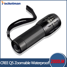 Buy CREE LED Flashlight Mini Black CREE 2000LM Waterproof Q5 LED Flashlight 3 Modes Zoomable LED Torch Penlight Flashlight for $2.36 in AliExpress store