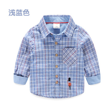 Baby long sleeve shirt spring 2016 han edition of the new boy's children's wear children's plaid shirt(China (Mainland))