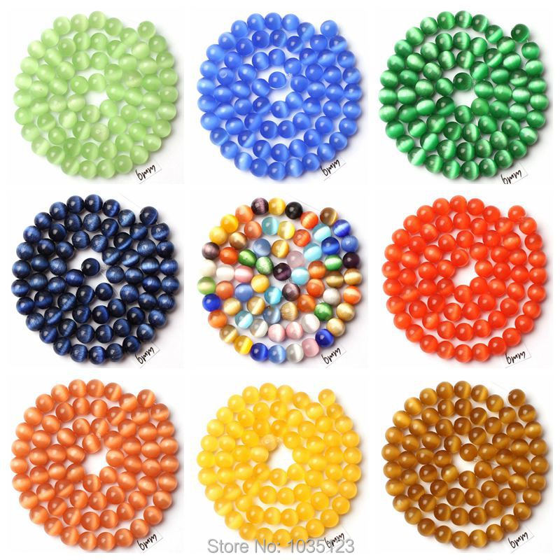 "Free Shipping AAA 6mm 18 Color Cat Eye Stone Round Shape Gem Loose Beads Strand 15"" DIY Creative Jewellery Making wj254(China (Mainland))"