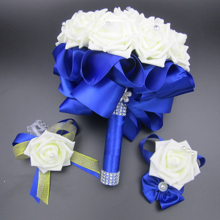 3pc Set Bouquet and Wrist Corsage and Boutonniere Blue buque de noiva White Artifical Rose Wedding Bridal Bridesmaid Flowers FE4(China (Mainland))