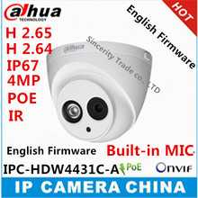 Dahua H2.65 IPC-HDW4431C-A Built-in MIC HD 4MP IR 30m network IP Camera security cctv Dome Camera Support POE HDW4431C-A