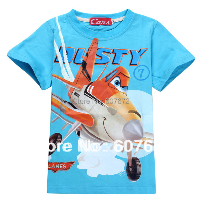 Free shipping 2015 New 24m/8y 3D Cartoon h aircraft high quality children's dusty planes t shirts kids light Blue M(China (Mainland))