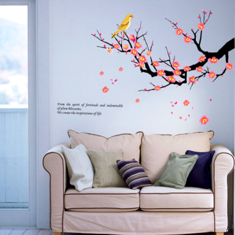 Natural wall decor bird flowers tree wall stickers wall for Bird wall mural