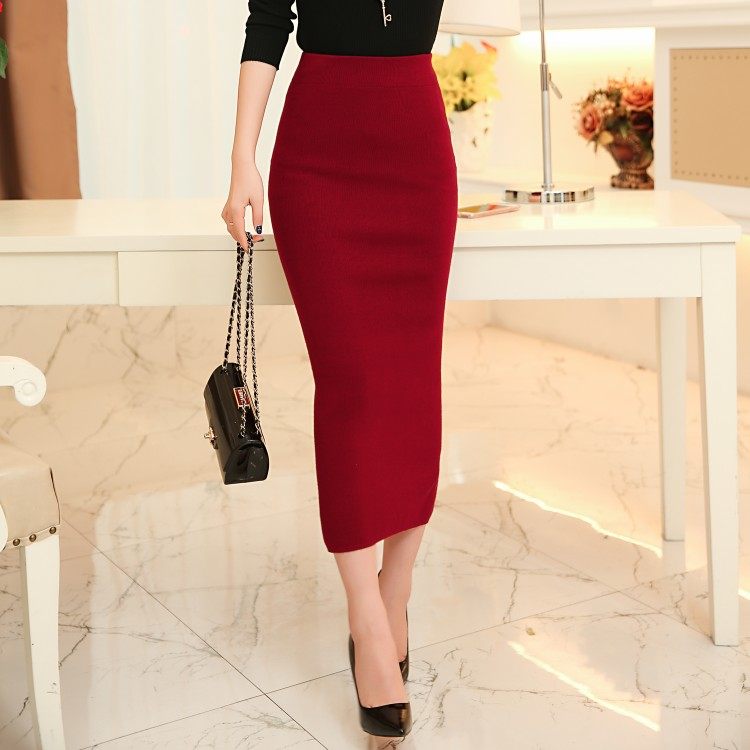Long red pencil dress