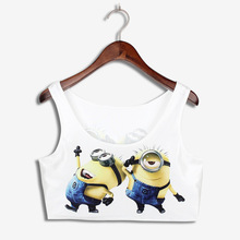 Fashion New 2015 Elastic blusa Despicable Me Minions Print Summer Beach Bustier Crop Top O Neck