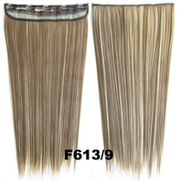 "24"" 130g color #613/9 Remy Indian Clip in blended  hair extensions ,straight 5 clips in hairpieces"