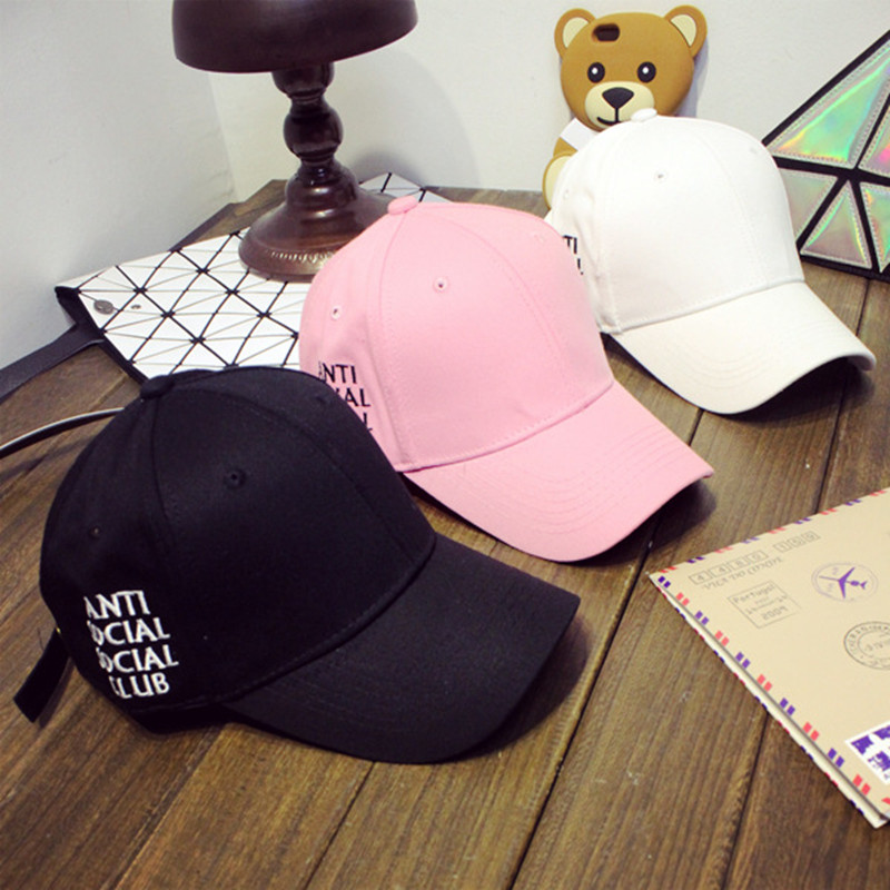 Summer Spring letter anti social club Cotton baseball Caps Womenand mens Solid Adult Cap Black White pink Snapback Women hat(China (Mainland))