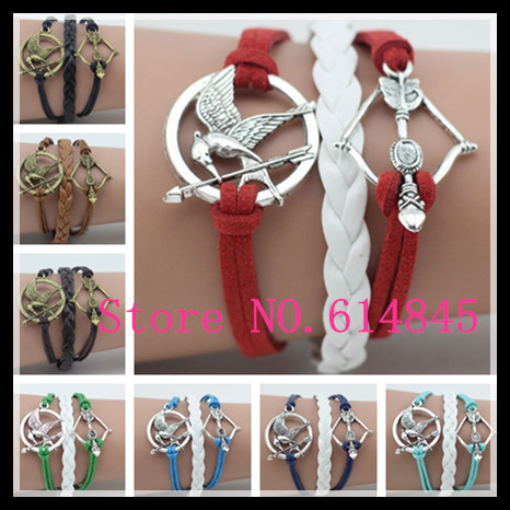5PCS Fashion Jewelry The Hunger Games Bow And Arrow Silver-plated Leather Bracelet Women Accessories Free Shipping BS0187<br><br>Aliexpress
