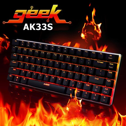 All New Ajazz Geek AK33S 82 Key Alloy Case Backlit USB Wired Mechanical Gaming Keyboard Blue/Black Axis N Key Rollover(China (Mainland))