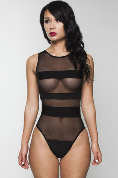 2015 Sexy Woman Black Mesh Bandage See-through One-piece Swimwear Summer Beach Pool Swimsuit Free Shipping(China (Mainland))