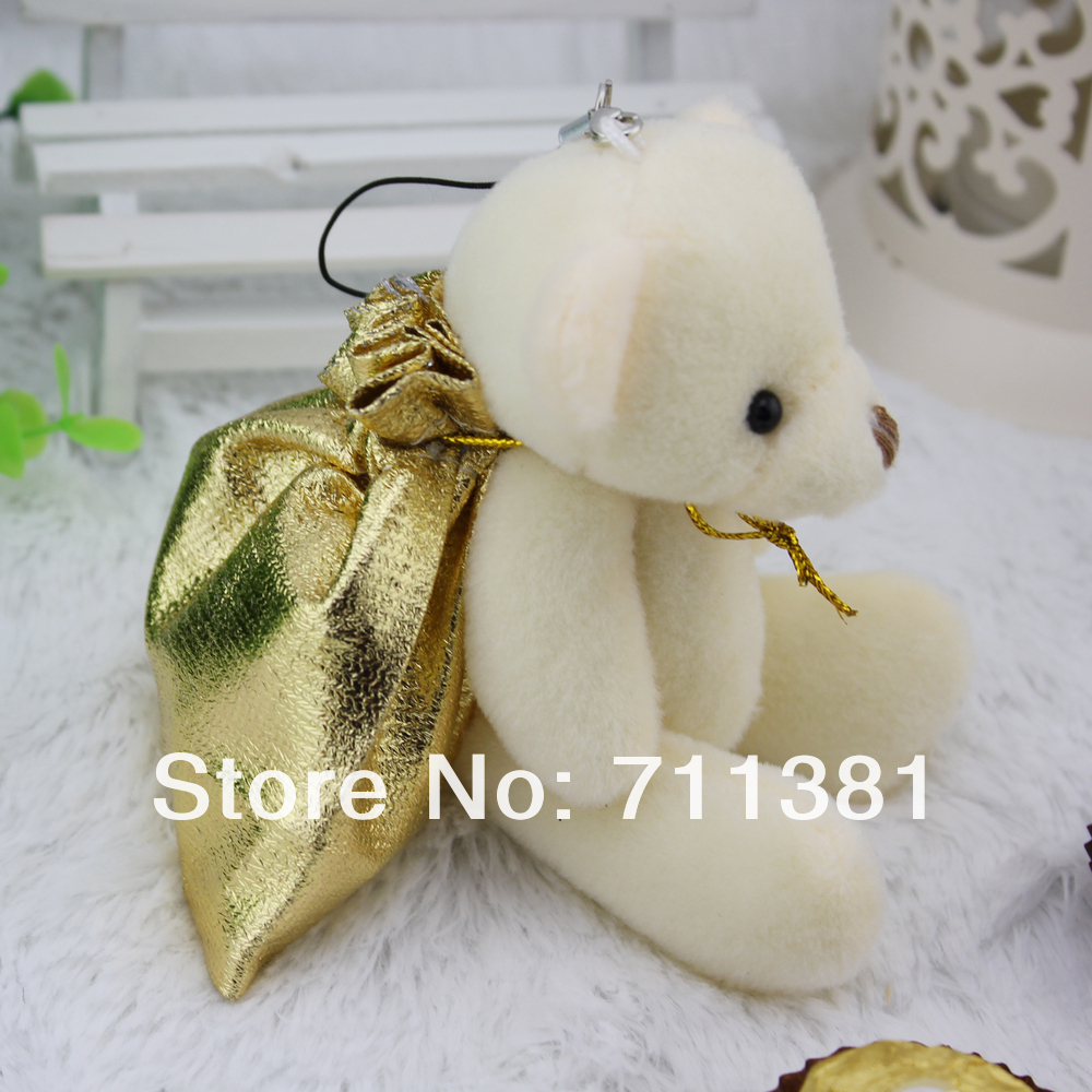 Free Shipping By EMS, Best Gift Plush White Bear Plush Toys Sitting Bear, Small Teddy Bear Gifts With a Candy Bag(China (Mainland))