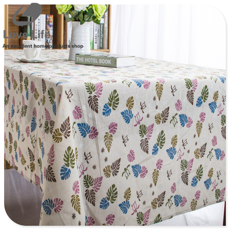 Linen table cloth european style leaves print high quality - Manteles para mesa ...