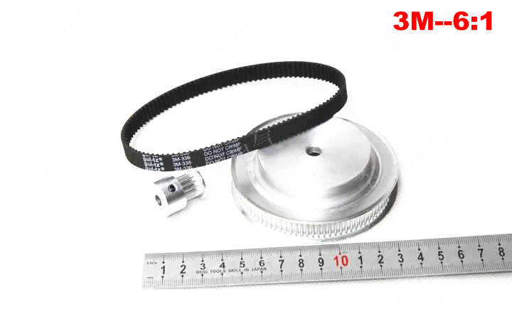CNC Router parts synchronous belt wheel for Rotary axis, 3M synchronous belt deceleration suite(6:1)(China (Mainland))